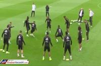 پاسکاری دیدنی بازیکنان رئال مادرید در تمرین این تیم