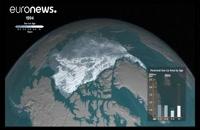 ویدئوی تندنما از ذوب شدن یخ های اقیانوس منجمد شمالی در سه دهۀ اخیر