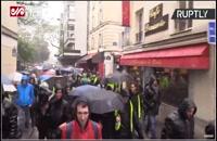 تظاهرات جلیقهزردها زیر باران هم ادامه پیدا کرد