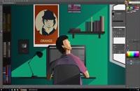 فیلم آموزش طراحی صحنه اتاق در نرم افزار Adobe Illustrator