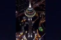 """""""برج میلاد"""" ، در آسمان شب تهران ."""