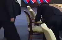 تمیز کردن صندلی رهبر کره شمالی با الکل در روسیه