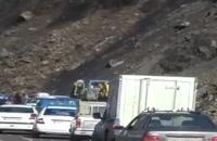 لحظه ریزش کوه در جاده آزادشهر به شاهرود